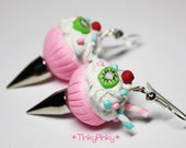 Spiked Gothic pink cupcake earrings with spikes, kiwi, cherry, candy sticks and sprinkles
