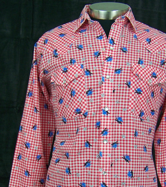 Vintage Dee Cee Western Shirt gingham with square dance graphic