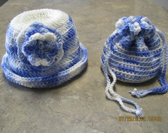 Drawstring carry-all purse/tote and rolled brim hat set youth