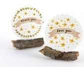 20 Stickers - Spring Flowers, Thank You Love