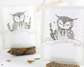 12 Bookplates - Owl & Yellow Bow