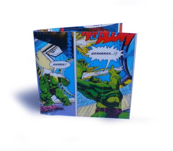 The Incredible Hulk Wallet -  Upcycled Comic & Vinyl