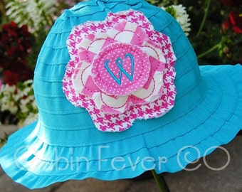 Hat, Toddler Hat - - - Monogram Bucket Hat with Frayed Flower  - - -  3 cap colors
