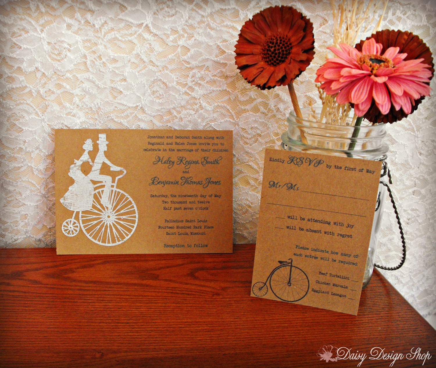 Wedding Invitation Tandem Bicycle Couple Cutout On Brown