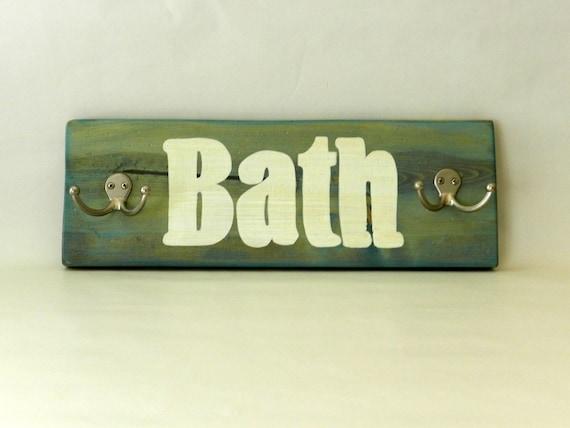 Bath Towel Holder Sign Blue