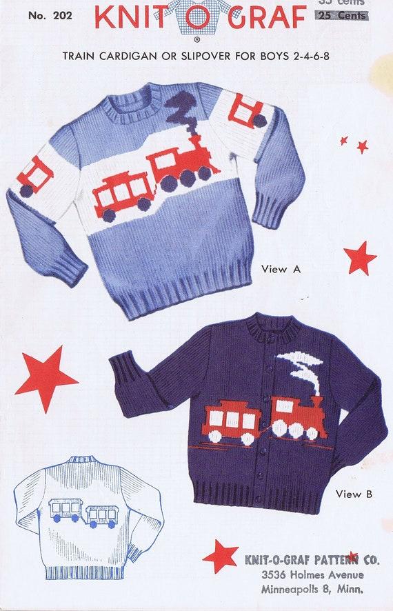 Knitting Pattern Train Sweater : Knit-O-Graf Boys Train Sweater Knitting by VintagePatternPlace