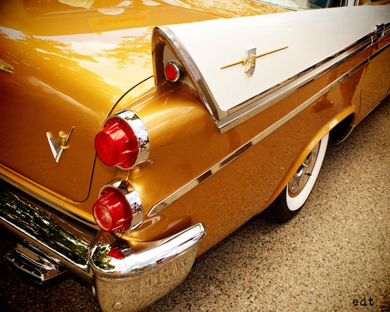 CLASSIC DODGE AUTOMOBILE, Custom Royal, Gold White Car, Man Cave Art, Men or Boys, Vintage and Antique Collectors Photo, Buick Automobile,