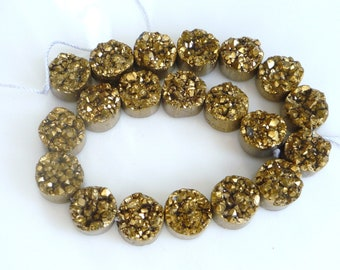 Gold  druzy  round coin  bead, focal bead    (10mm)