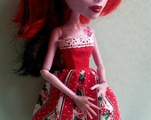 Candy Cane Striped Christmas Dress for Monster High Doll