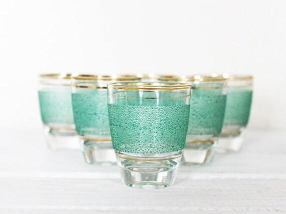Vintage Shot Glasses Car Glass Barware Green Gold Rim Stripe Band 6