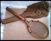 Rare 1908 Patented Antique Harry C. Lee Wood Tennis Raquet with Slotted Handle