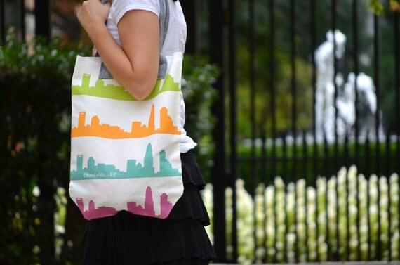 SALE - Charlotte, NC Skyline Market Tote - North Carolina city south downtown uptown custom fabric canvas shopping diaper bag wool handles