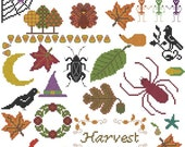 Harvest Halloween Fall Thanksgiving cross stitch pattern pdf