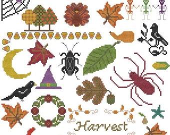 Harvest Halloween Fall Thanksgiving cross stitch pattern pdf