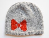 Ready to Ship  - Knit Intarsia Bow Hat, Grey Hat with Red Bow by SheepishKnitCrochet on Etsy
