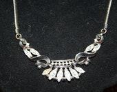Rhinestone Marquise Necklace Silvertone Beautiful Choker Trifari