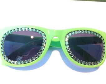Green Swarovski Non Prescription Sunglasses