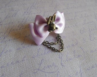 Bunny rabbit ring Sweet Lolita lavender