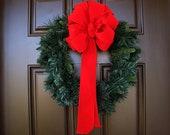 Christmas Red Velvet-like Handmade Bow