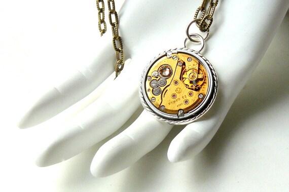 Steampunk Necklace, Steampunk Watch Necklace, Gold Necklace, Vintage Watch, Gold Steampunk Jewelry by pennyfarthingdesigns on Etsy
