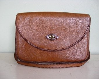 Vintage Ostrich Tooled Purse w/ Tortoise Clasp in Carmel
