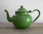 Vintage Green Enamelware Teapot