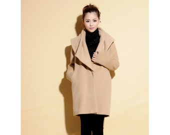 Pleated Collar Pure Wool  Cocoon Coat/ 17 Colors/ RAMIES