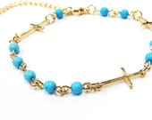 Rosary Beads Cross Bracelet - Aqua