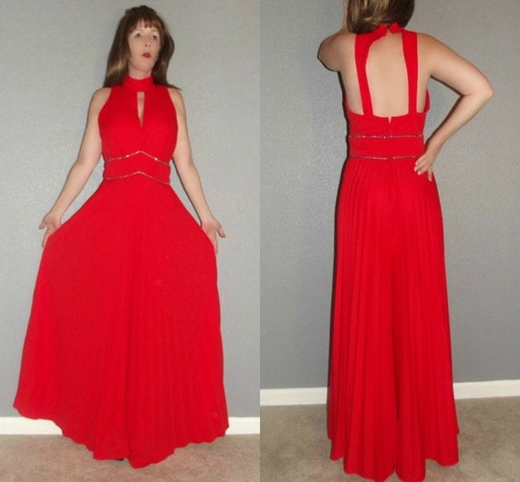 SM Vtg 60s 70s Red Avant Garde Pleated Jewelled Wide Leg Keyhole Cut Out Backless Halter Palazzo Pants Jumpsuit Hostess Maxi Dress