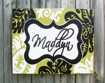 Cocalo Harlow- large personalized nursery art- name monogram initials- hand painted- M2M decor- green black white