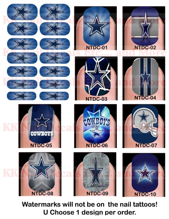 items similar to nail tattoo decals dallas cowboys on etsy. Black Bedroom Furniture Sets. Home Design Ideas