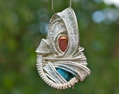 Wire Wrapped Jewelry - Opal and Jasper Crystal Pendant Necklace with Sterling Silver  //FREE SHIPPING//