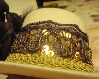 Gypsy Bride - Beaded mini top hat Beige Cream Purple Eggplant Gold Butterfly Ostrich Feather Hair Fascinator