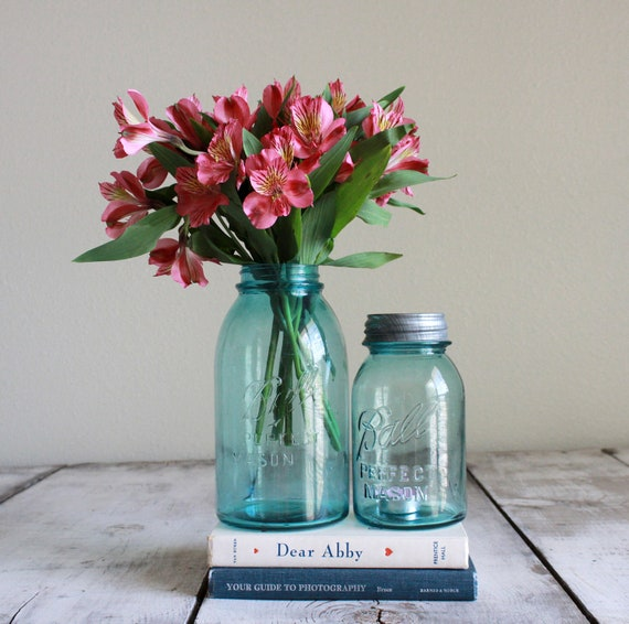Pair of vintage blue ball mason jars