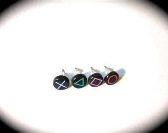 4 Playstation Button Stud Earrings