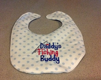 Daddy's Little Fishing Buddy Embroidery Handmade Baby Bib