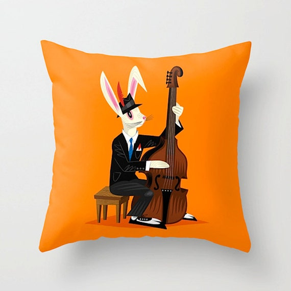 "The Jazz Bunny - Throw Pillow / Cushion Cover (16"" x 16"") iOTA iLLUSTRATION"