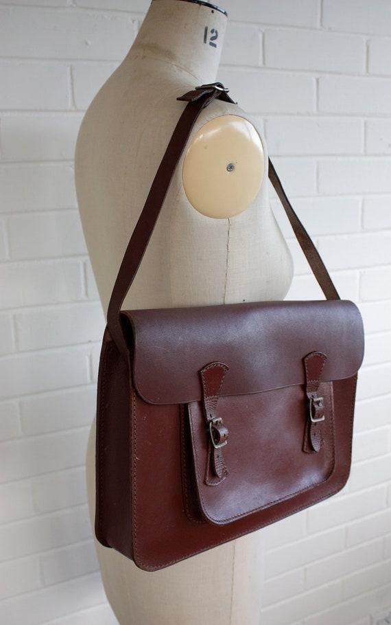 Vintage 1970s Brown Leather School Satchel