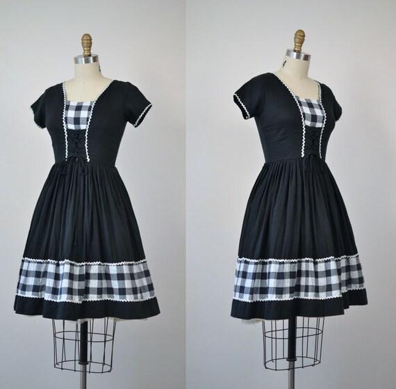 1950s Gingham Day Dress / 50s Black Dress