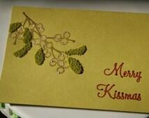 "Merry ""Kissmas"" Mistletoe Holiday Christmas Blank Greeting Card"
