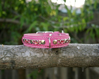 Pink Perfection Leather Dog Collar Small