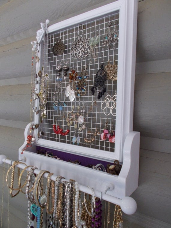 Upcycled Jewelry Display/Jewelry Hanger/Housewares/Wall Decor/ Wall Jewelry Hanger