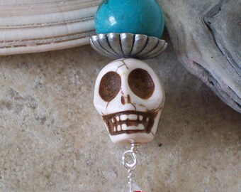 Sugar Skull And Red Rose Pendant and Keychain