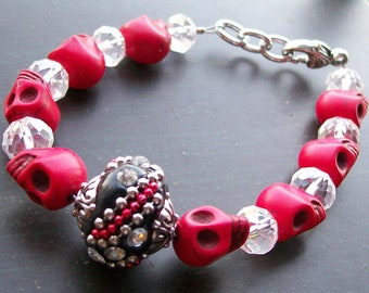 Red Sugar Skull Halloween Bracelet