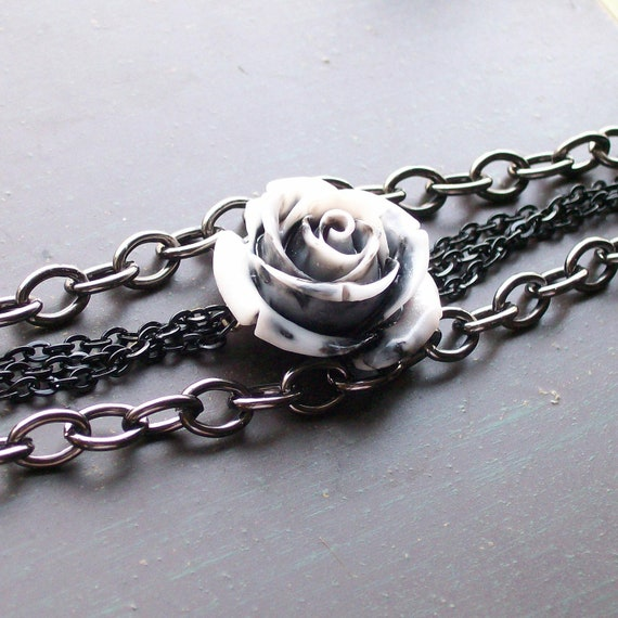 Rockabilly Rose and Chain Bracelet