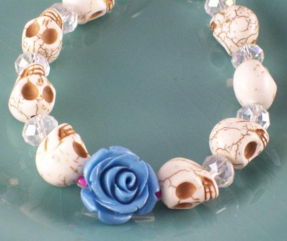 Blue Rose and Sugar Skull Bracelet