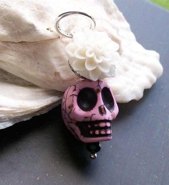 Pink Zombie skull and Flower Pendant