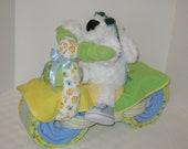 Motorcycle Bike Diaper Cake,  Jungle, Safari, Baby Shower Gift, Centerpiece, Baby Cake,  Neutral Baby Gift, New Baby