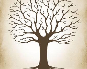 Wedding Guest Book, Wedding Tree Fingerprint Signature Tree, Custom Family Tree - Custom color, size, text - DIGITAL PRINTABLE JPEG