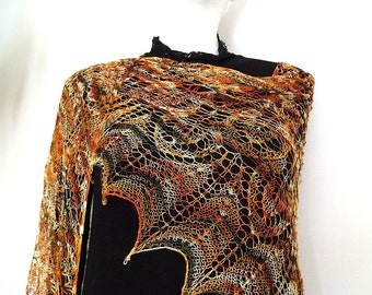 Natural silk lace gold brown triangle shawl India Autumn handmade OOAK cobweb luxurious